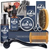 Kit de Soin Barbe Homme avec Rouleau Barbe,Shampoing Barbe,Huile Barbe,Baumes/Crèmes de Barbe,Peigne Barbe,Brosse à Barbe,Cis