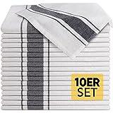 Loco Bird Torchons de cuisine en coton vaisselle 45x75 cm blanc rayé - Set de 10 pièces de haute qualité - Torchons à vaissel
