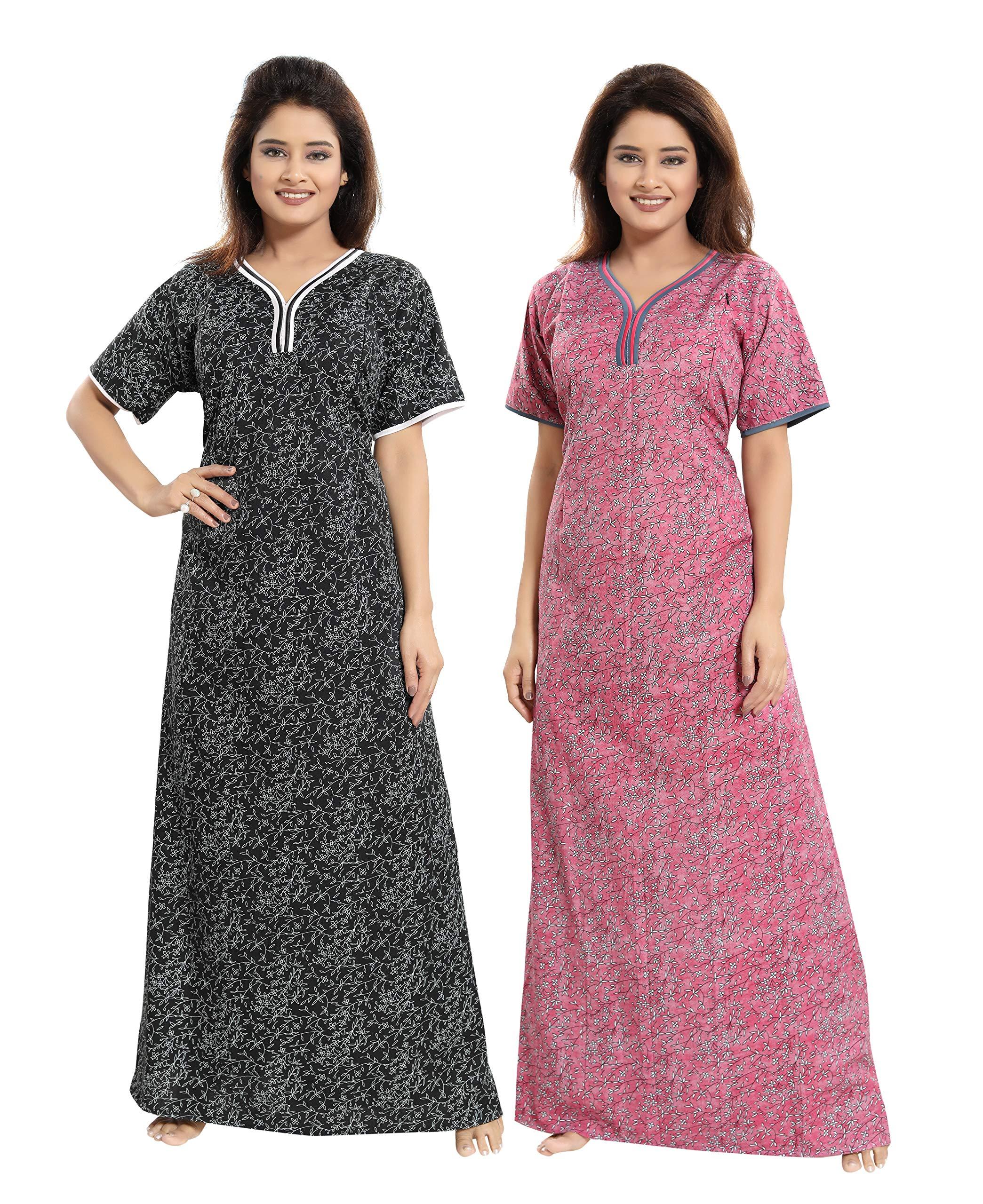 49ec52ff2 TUCUTE Women Beautiful Print Poly-Cotton Invisible Zip Pattern  Feeding Maternity Nursing Nighty Night Gown Nightwear ...