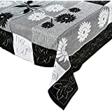 Amazon Brand - Solimo Cotton Blend Table Cover for Centre Table and 4 Seater Dining Table (Floral, Black)