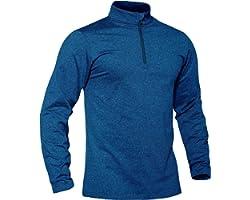 TACVASEN Men's Running Tops Long Sleeve Golf Jumper Half Zip Sport Gym Shirt Fleece Thermal Base Layer