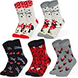 Disney Socks For Women Size 4-7 With Minnie Mouse And Mickey Mouse, Multipack Of 5 Crew Socks, Fun Cotton Clothes