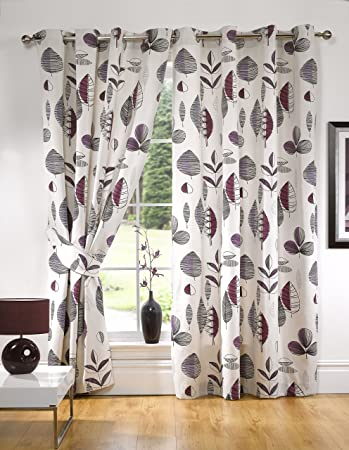 Perfect Printed Retro Leaves Ready Made Fully Lined Eyelet Curtains + Tiebacks  Aubergine   Colour: Aubergine