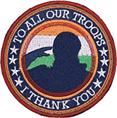 Biker Patches to All Our Troops Embroidered SEW ON (9.5 cm x 9.5 cm x 1 cm)