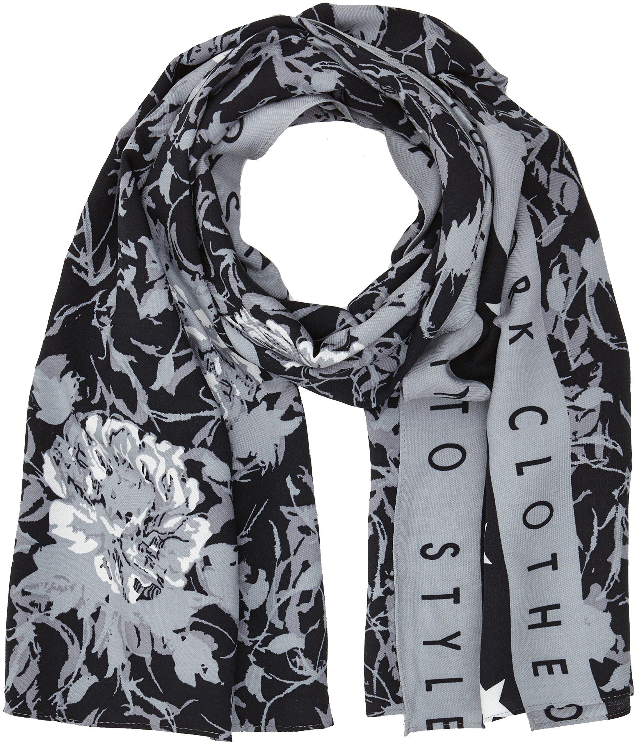 Guess Bufanda, Multicolore (Grey/Black Floral), Talla única para Hombre