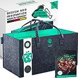 freegreen® Premium shoppingväska tillverkad av återvunna PET-flaskor och filt, 100 % hållbar och miljövänlig, otaliga användn