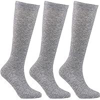 Laulax 3 paia di calzini alti al ginocchio in cotone pettinato per ragazze (3-16 anni), set regalo