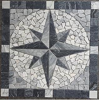 Marmor Rosone 60x60 Kompass Naturstein Windrose Mosaik Einleger