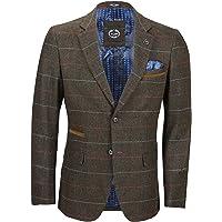 Xposed Mens Vintage Styled Herringbone Blazer Classic Tailored Tweed Tonal Blue Check on Brown