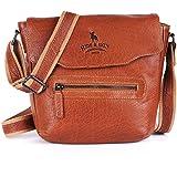 HIDE & SKIN Unisex Deneva Leather Sling Messenger Bag (Vintage Tan)