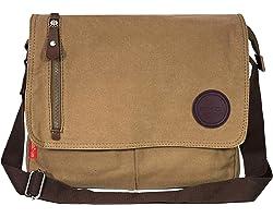 Storite Vintage Canvas Sling Cross Body Travel Office Business Satchel Messenger one Side Shoulder Bag For Men & Women-(33 cm