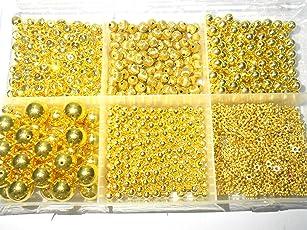 Goelx Designer Gold Beads Shiny Jewellery Making/Craftworks Beads Box- 6 Varieties