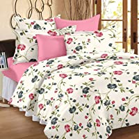 HUESLAND by Ahmedabad Cotton Double Duvet Cover Set - 90 x 100 inches (Cream and Pink)