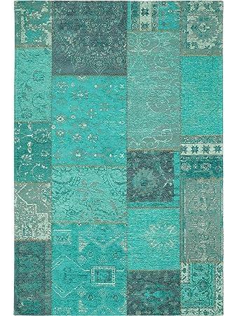 Pflegeleichter teppich  benuta Flachgewebe Teppich Frencie Patchwork Blau 80x165 cm ...