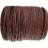 esnado Cordino rotondo in cuoio, 3 mm, colore: marrone anticato, lunghezza a scelta 2 metri marrone antico