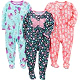 Simple Joys by Carter's Bebé Niñas pijama con pie cerrado de manga larga, Pack de 3