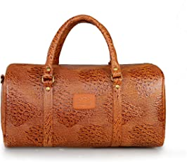 The Clownfish Leather 20 Ltr Tan Hybrid Sided Travel Duffles