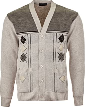 Maan Store Mens V Neck Knitted Cardigan Chunky Cable Knit with Front Pockets and Button Closure