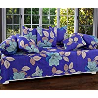 Dynamic Homes Printed Designer Cotton Diwan Set with 8 Pieces, 1 Single bedsheet with 5 Cushions Covers and 2 Bolster Covers with Attractive Color & Design