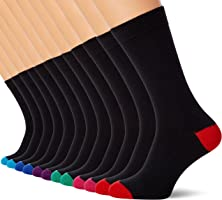 FM London 12-Pack Men's Smart Black Socks | Breathable, Stain Resistant, 6-11 UK