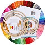 IMMEK Ricamo Starter Kit, Kit di Attrezzi a Punto Croce con 100 Fili Colorati, 5 Pezzi di Cerchi di bambù,12 da 18 Pollici Se