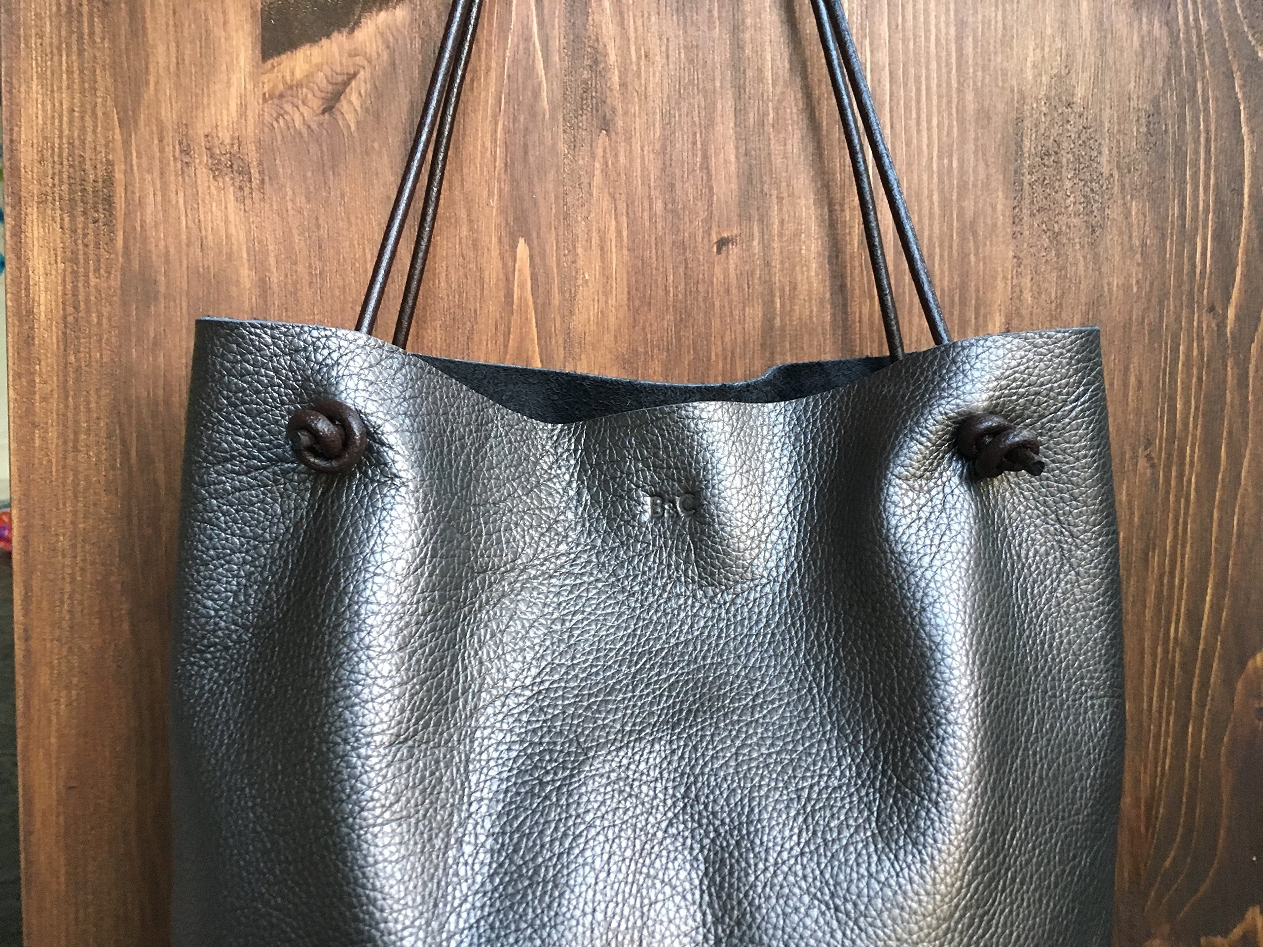 Leather Tote Bag using Italian Leather - handmade-bags