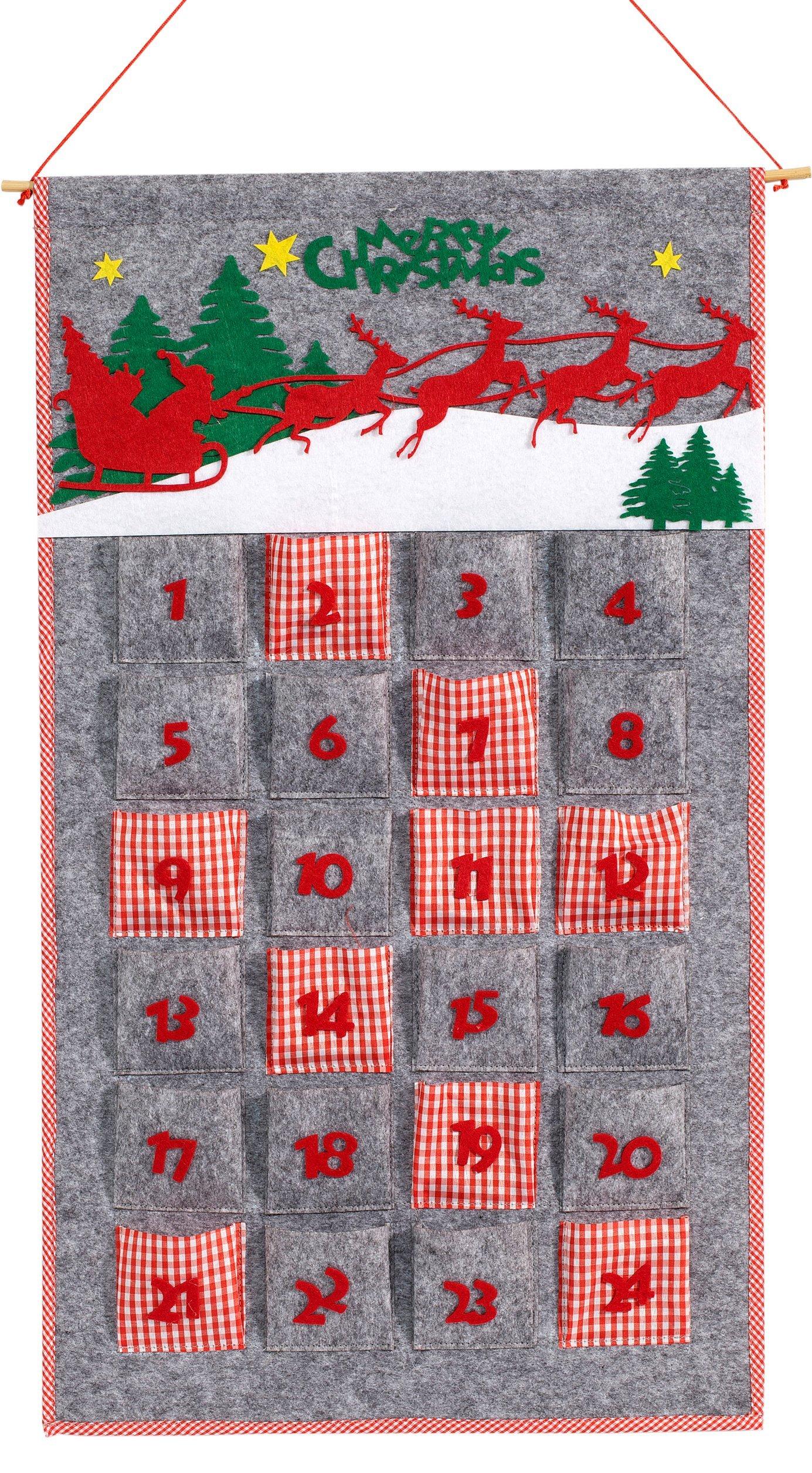 Calendario Dellavvento In Feltro.Heitmann Deco 90439 Calendario Dell Avvento In Feltro Da Riempire Autonomamente Plastica Rosso Grigio 75 X 47 X 1 1 Cm Casame