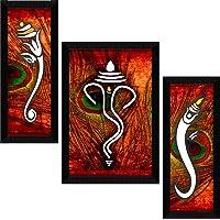 SAF UV Textured Ganesh Modern Art Print Framed Painting Set of 3 for Home Decoration – Size 35 x 2 x 50 cm SANFSA1013