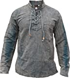 Gheri Mens Hemp Cotton Lace Up V Neck Grandad Shirt