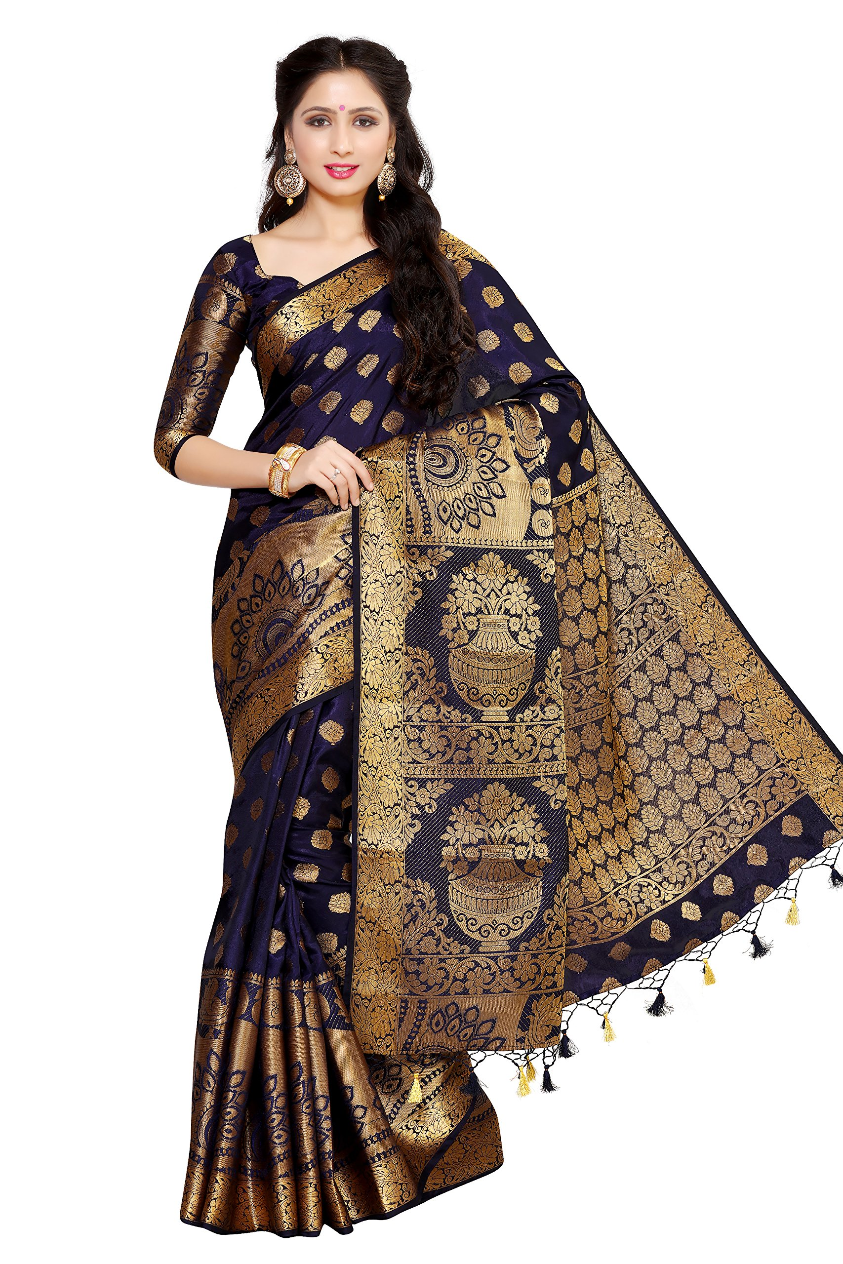 549b3493e20cc6 Mimosa Women's Art Silk Saree With Blouse Piece (4050-241-Sd-Nvy,Navy  Blue,Free Size) - Gia Designer