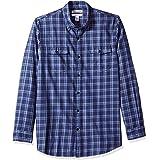 Amazon Essentials - Camisa de sarga ajustada con dos bolsillos y manga larga para hombre