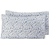 Amazon Basics - Federe in microfibra, 50 x 80 cm, Set di due - Blu floreale