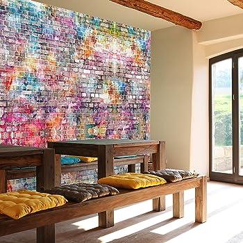 Fototapete Steinwand 366 X 254 Cm Kinderzimmer Steinwand Graffiti Bunt  Grunge Vintage Wall Art Jungen Grafitti