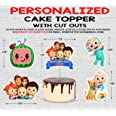 WoW Party Studio ™ Personalized Cocomelon Theme Cake Topper with Birthday Boy/Girl Name and 1ft Cutouts Combo