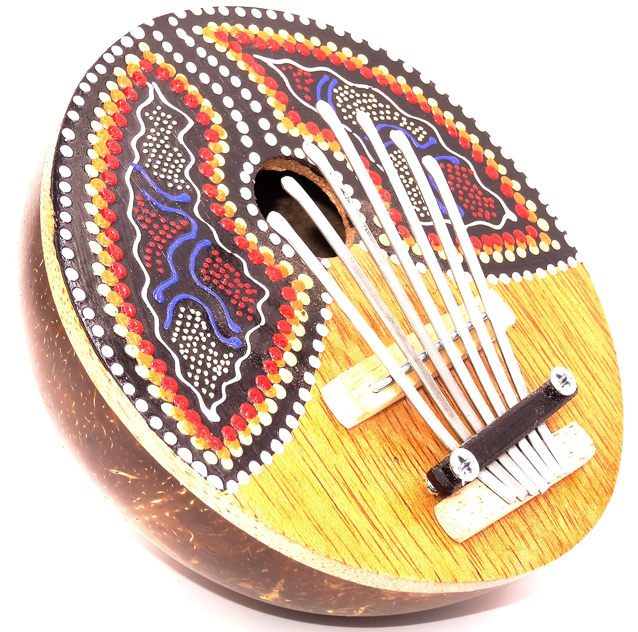 Karimba Kalimba Chitarra Pianoforte a pollice Sanza Cocco strumento musica Aborigeno da parati blu