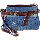 Cool Jeans Umhängetasche mit Gürtel und kleinen Steinchen/Nieten - Glitzereffekt - Maße ohne Henkel 22x17x6 cm - Damen Mädche