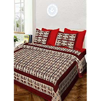 100% Cotton Rajasthani Traditional Print King Size Double Bedsheet With Zipped 2 Pillow Covers