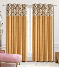 Curtains for Door 7 feet by La elite |Curtains 7 feet Set of 1 Pc (One Pc) Golden Curtains |