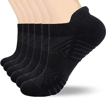 Tmani Cushioned Trainer Socks Men for Long Work Shifts, Walking Running Socks Sports Socks Cotton Ankle Socks Low Cut Socks for Men Women (6 Pairs)