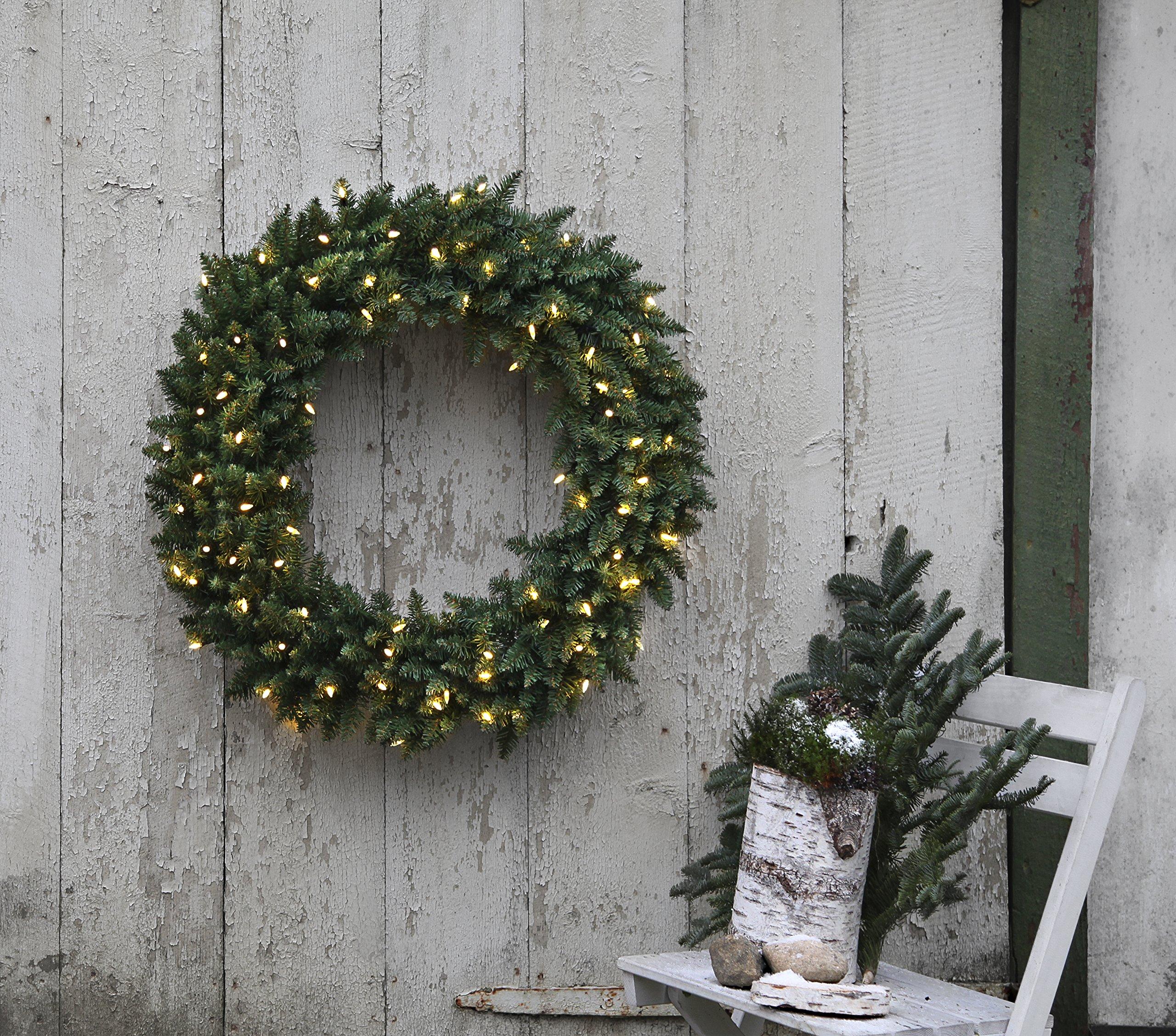 'Star LED de corona de Navidad»Calgary, iluminado, 80luces LED Pisello blanco cálido exterior, transformador de cartón, diámetro 90cm 612–62