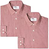 Marca Amazon - find. Camisa de Cuadros Vichy Slim Fit Hombre, Pack de 2, Rot (Gingham Red / Gingham Red), 41 cm, Label:L