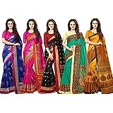 Vashtram Women's Bhagalpuri Raw Silk Saree With Un-stitched Blouse(Pack of 5) (BL199_Multicolored)