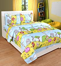 BSB Trendz Polyester Cartoon Elephant, Zebra and All Animal Printed Bedsheet for Kids, 90x90 Inches, Pillow 17x27 Inches (Yellow, Vi2635)