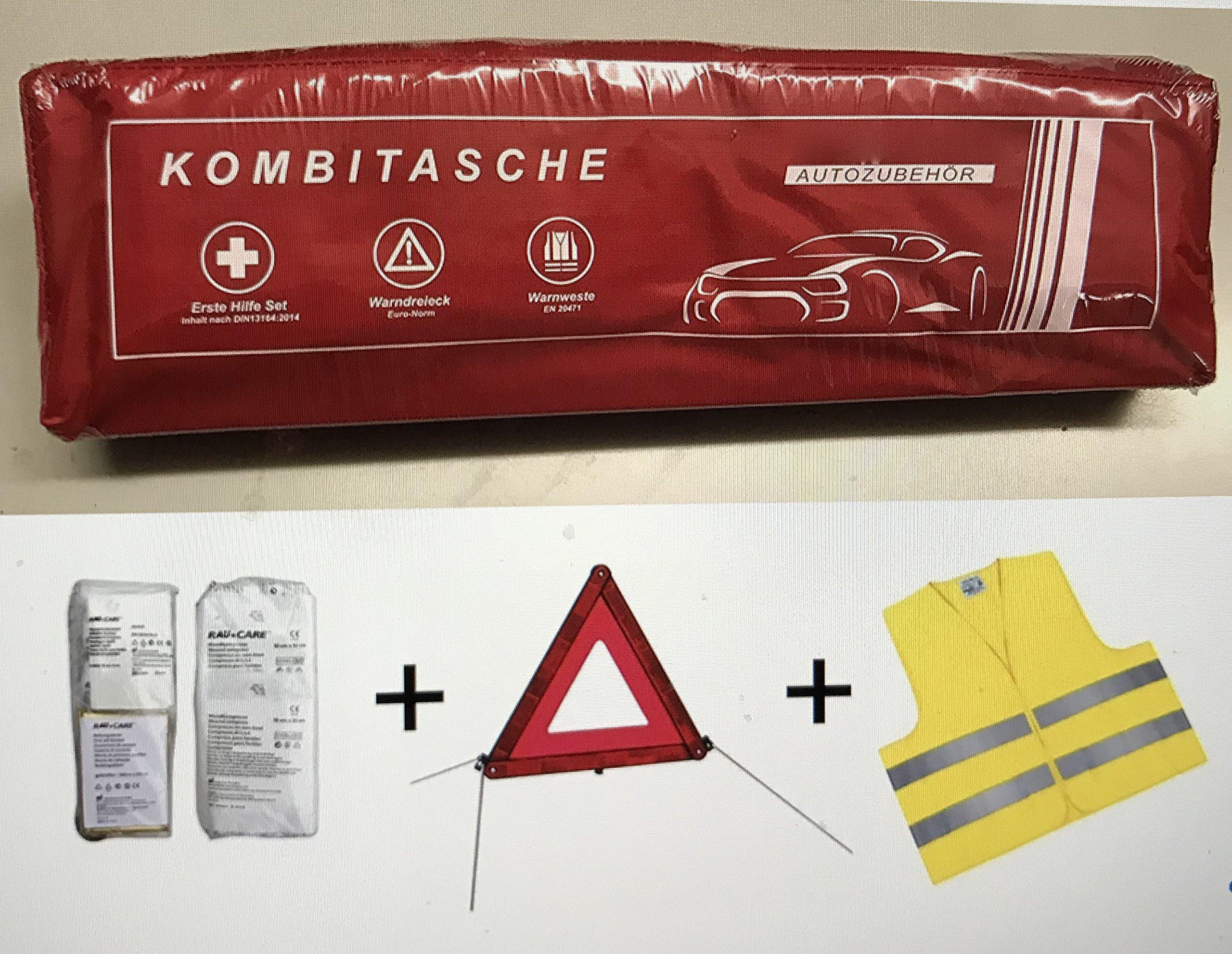 Phil trade Sacoche multifonctions pour véhicule Rouge Contient une trousse de secours conforme à la norme DIN 13164, un triangle de signalisation ECE, un gilet de sécurité