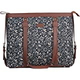 ZOUK Black Floral Printed Handmade Vegan Leather Women's Office Bag for 15.6 inch Laptop with double handles - FloMotif