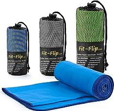 Fit-Flip Microfaser Handtücher in 3 Größen und 18 Farben – Ultra Leicht und Kompakt