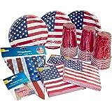 Heku Set USA e Getta Party USA con Piatti, Bicchieri Red Cup, Tovaglioli, Decorazioni e Altro, 171 Pezzi