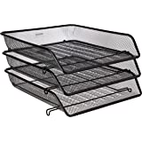Amazon Brand - Solimo File Desk Organizer with 3 Trays (Black)