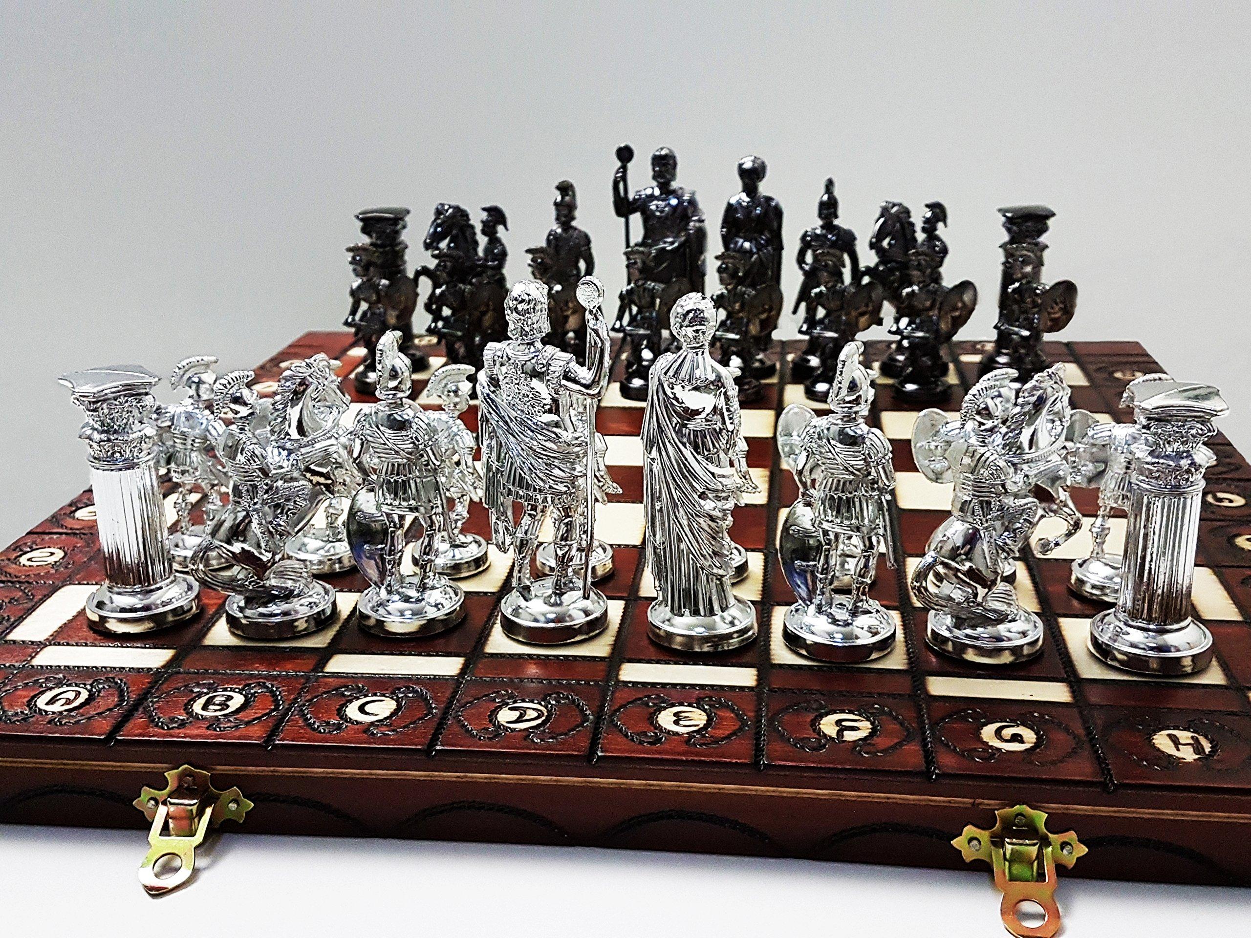 SPARTAN-SILVER-groe-40cm157-In-knstlerischen-Chrome-Schachspiel