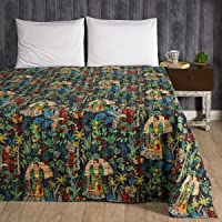 Ravaiyaa - Attitude is everything Frida Kahlo Printed Hand Kantha Quilt Bedspread Gudari Cotton Bedding Quilt Double Size Bed Throw Coverlet (Black)